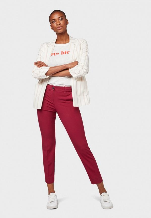 Фото 2 - женские брюки Tom Tailor красного цвета