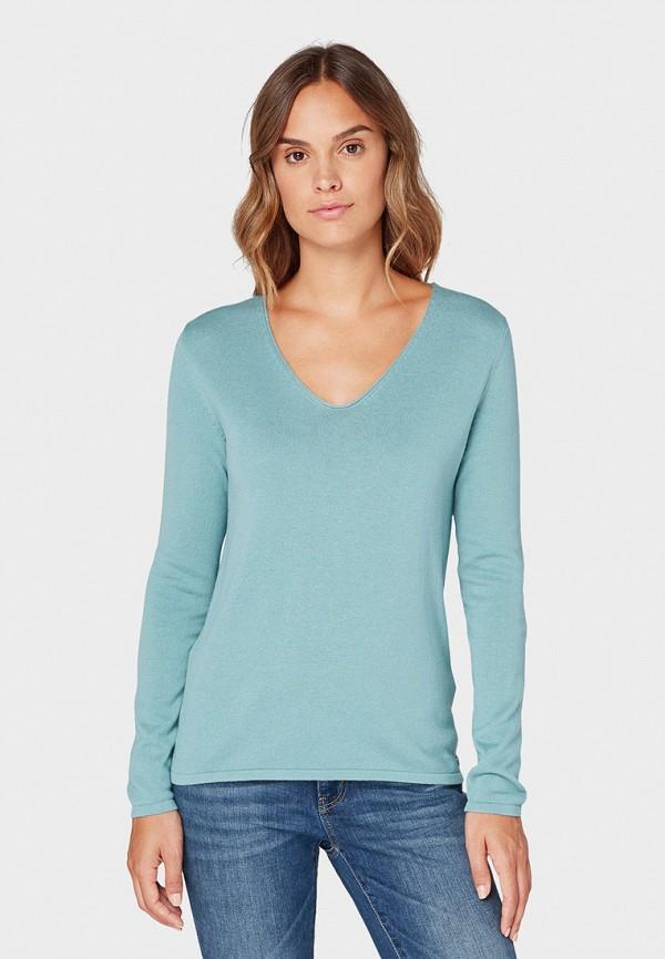 женский пуловер tom tailor, бирюзовый
