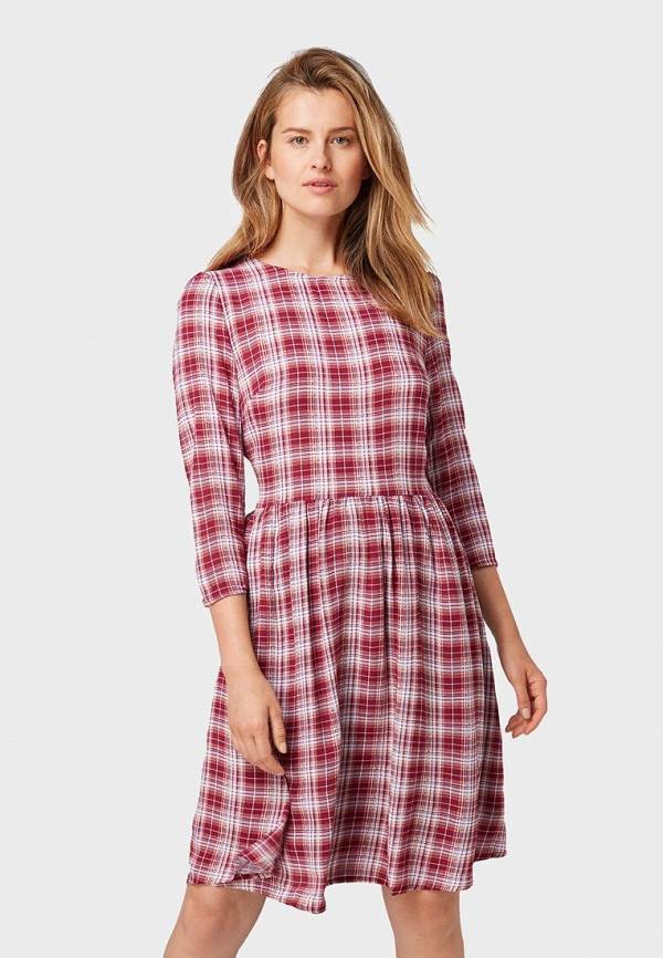 женское повседневные платье tom tailor, красное