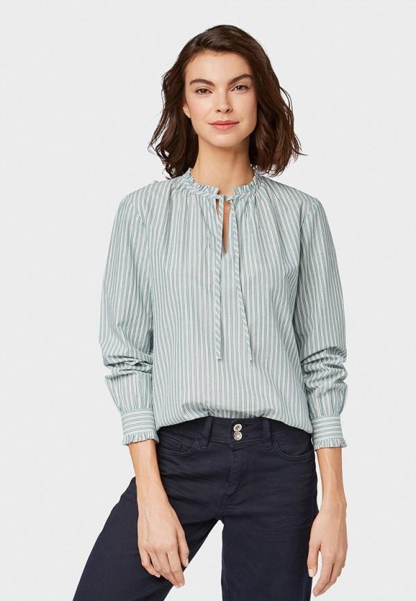 женская блузка tom tailor, зеленая