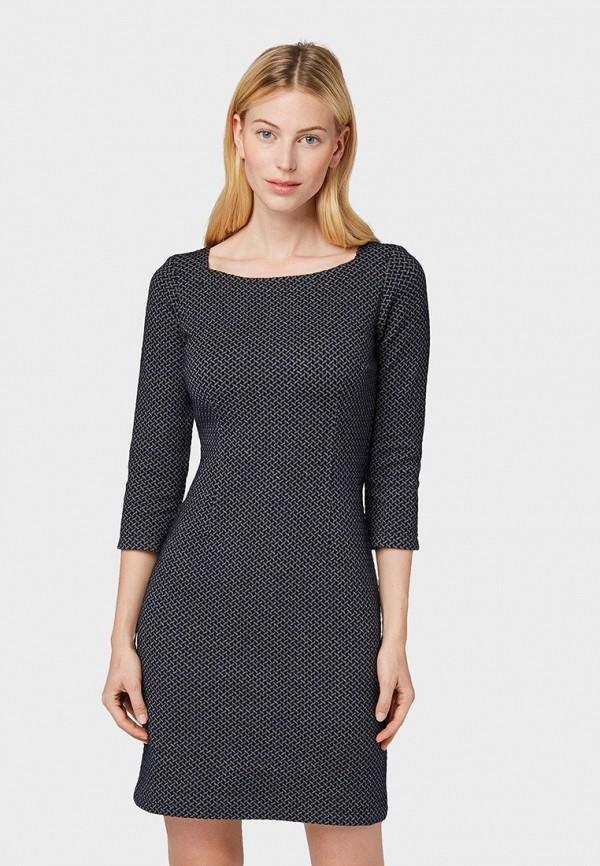 женское платье-футляр tom tailor, синее