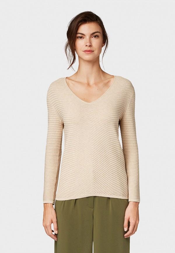 женский пуловер tom tailor, бежевый