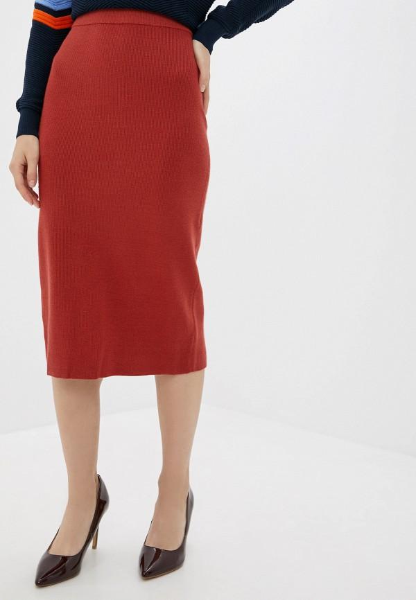 женская прямые юбка tom tailor, красная