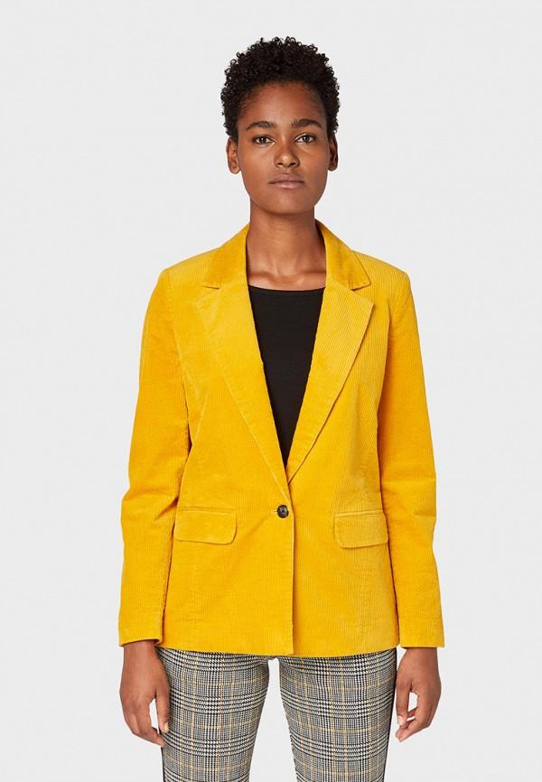 женский пиджак tom tailor, желтый