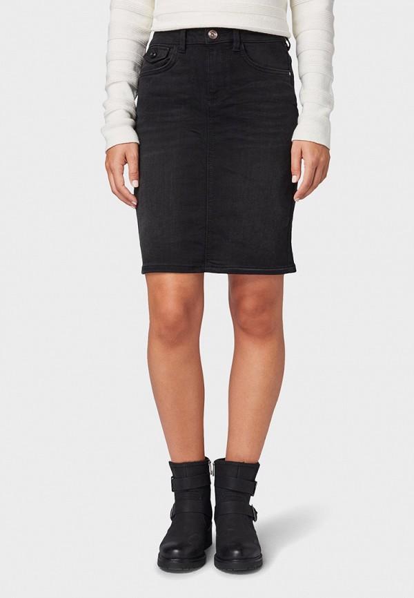 женская джинсовые юбка tom tailor, черная