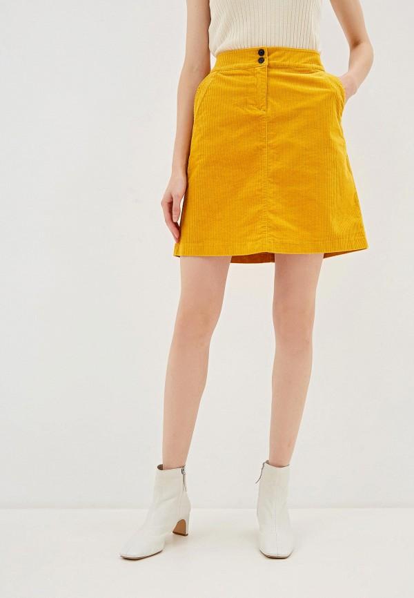 женская прямые юбка tom tailor, желтая