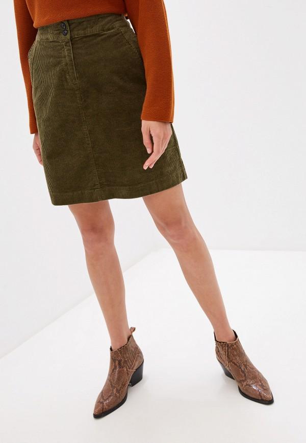 женская прямые юбка tom tailor, зеленая