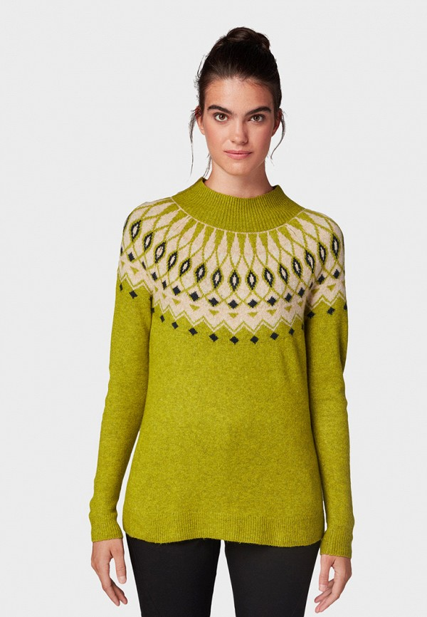 женский джемпер tom tailor, зеленый