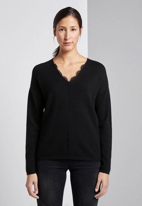 женский пуловер tom tailor, черный
