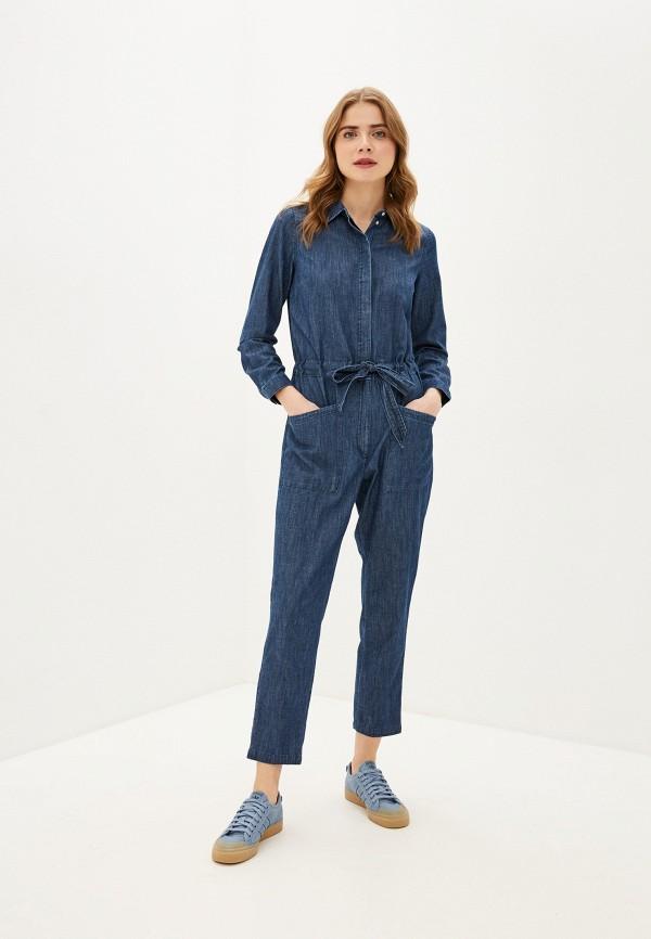 женский джинсовые комбинезон tom tailor, синий