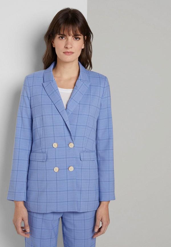 женский пиджак tom tailor, голубой