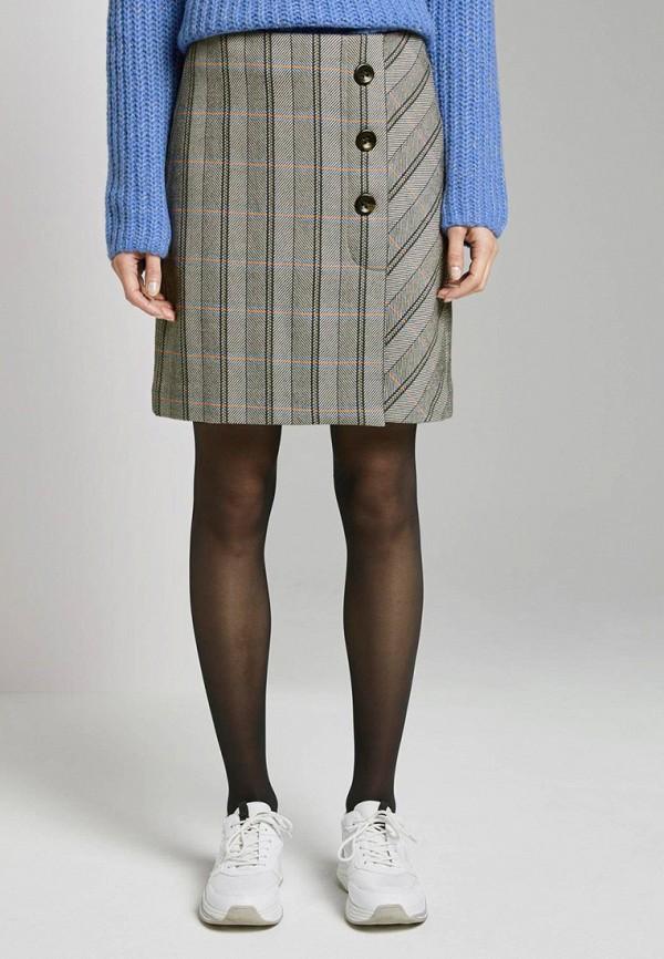 женская прямые юбка tom tailor, серая