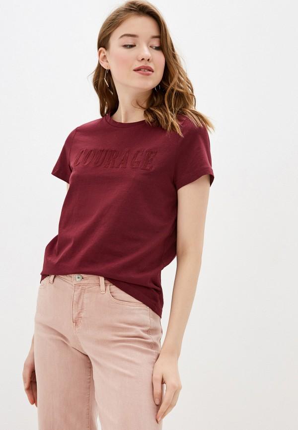женская футболка tom tailor, бордовая