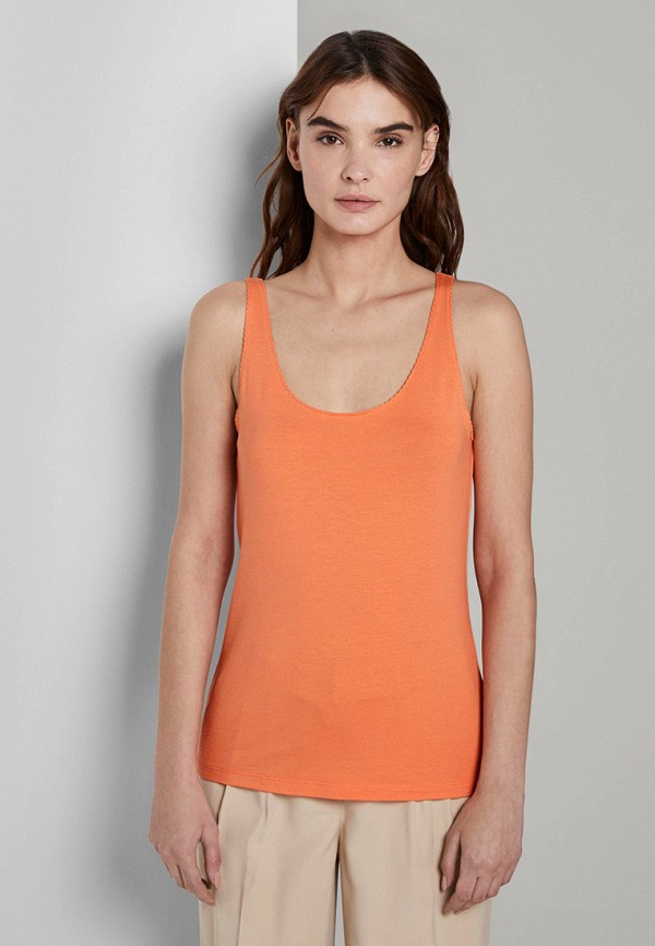 женская майка tom tailor, оранжевая