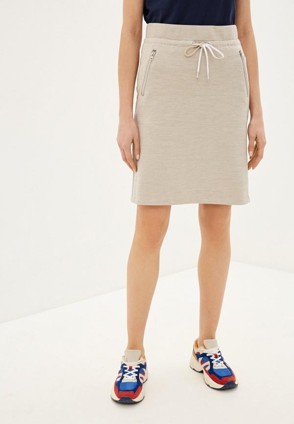 женская прямые юбка tom tailor, бежевая
