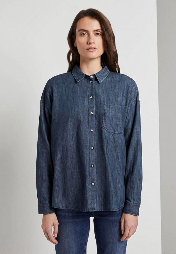 женская джинсовые рубашка tom tailor, синяя