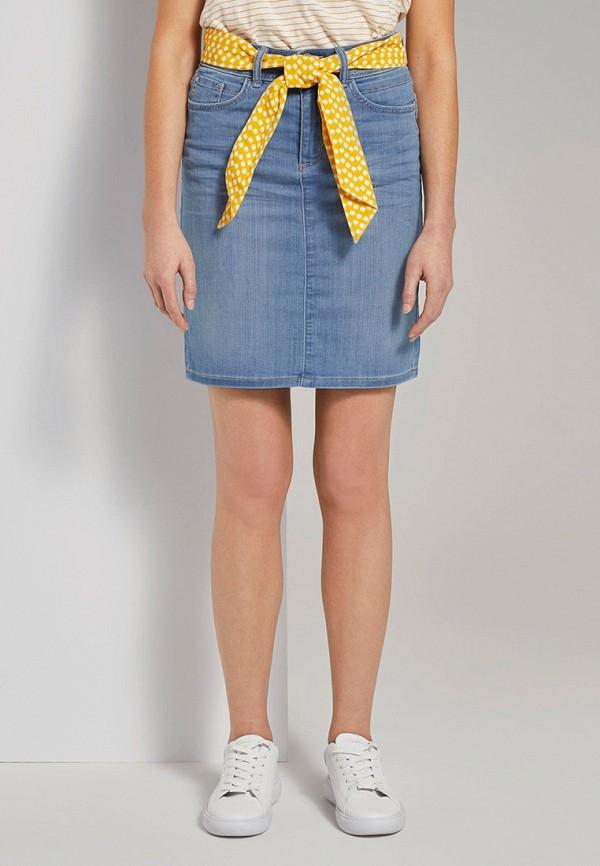 женская джинсовые юбка tom tailor, голубая