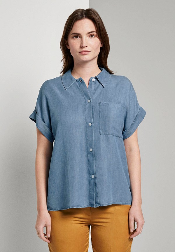 женская джинсовые рубашка tom tailor, голубая