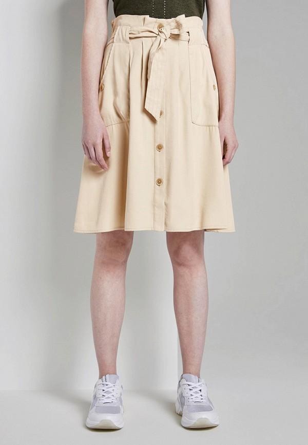 женская юбка tom tailor, бежевая
