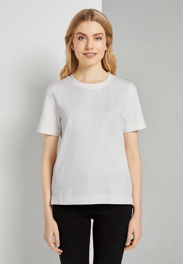 женская футболка tom tailor, белая