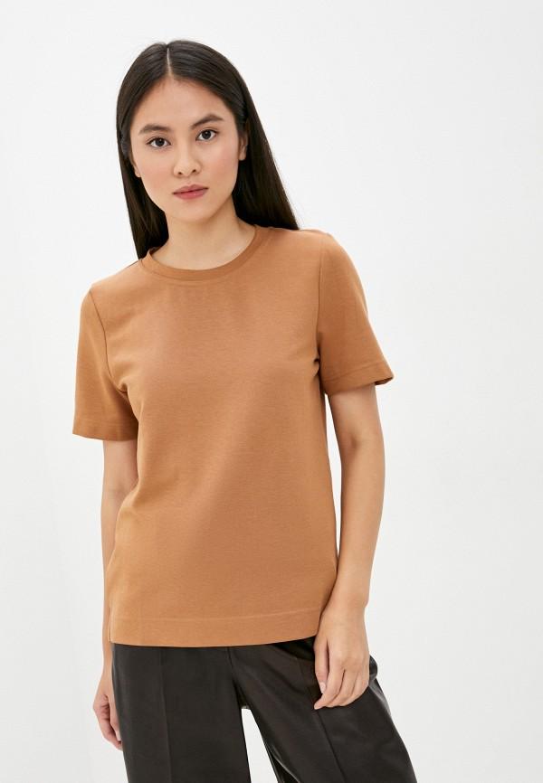 женская футболка tom tailor, коричневая