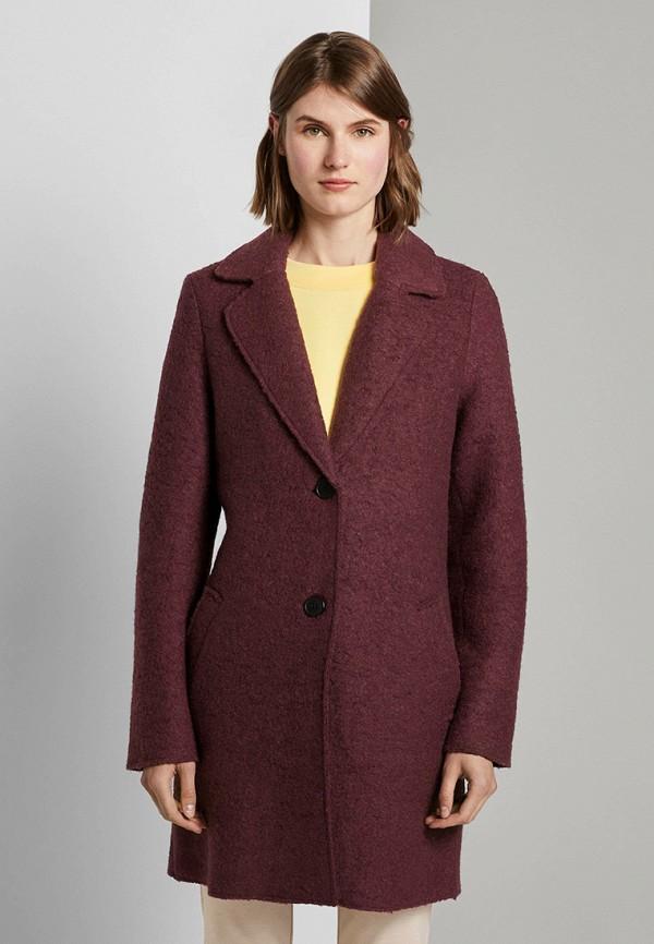 женское пальто tom tailor, бордовое