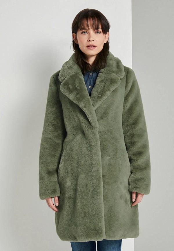 женская шуба tom tailor, зеленая