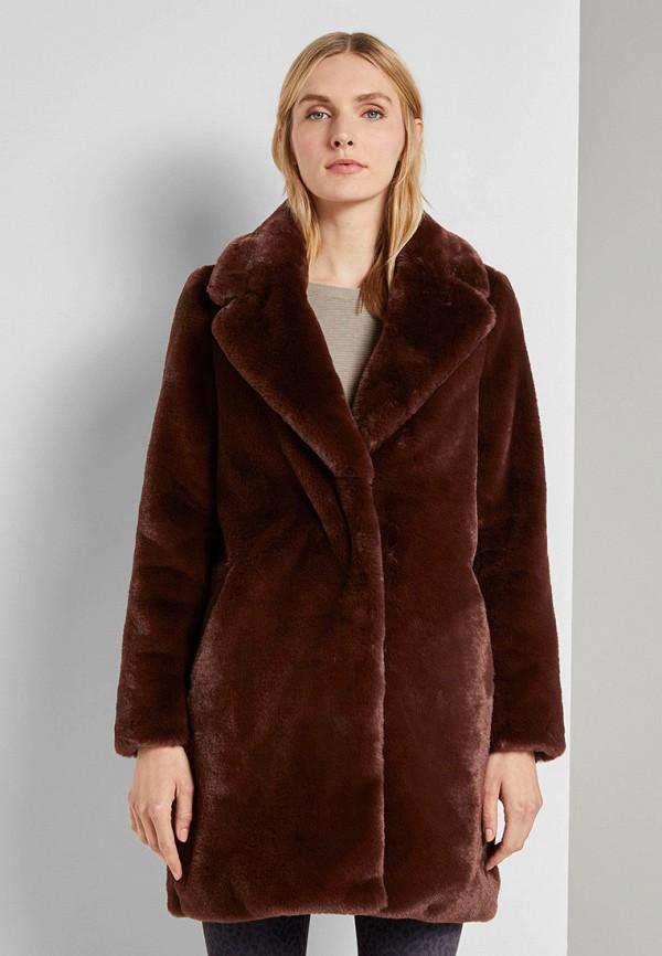 женская шуба tom tailor, коричневая