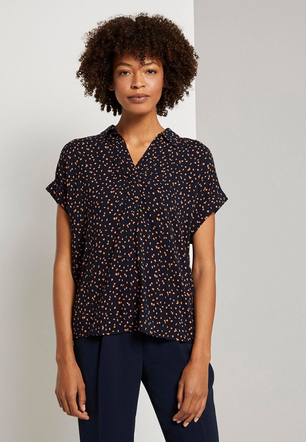 женская блузка tom tailor, синяя