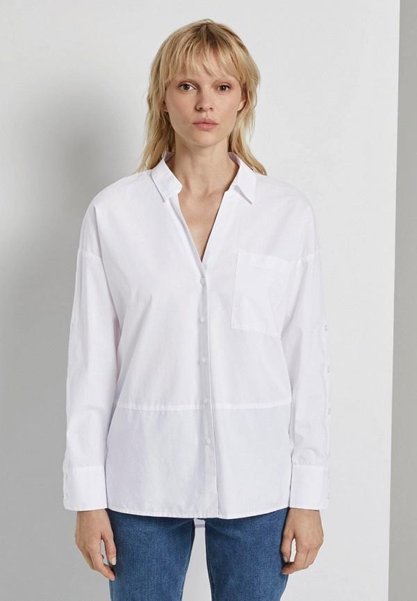 женская рубашка с длинным рукавом tom tailor, белая