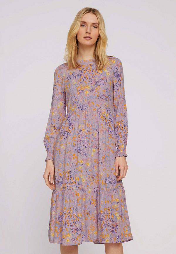 женское повседневные платье tom tailor, фиолетовое