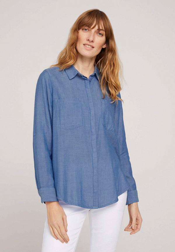 женская блузка с длинным рукавом tom tailor, синяя