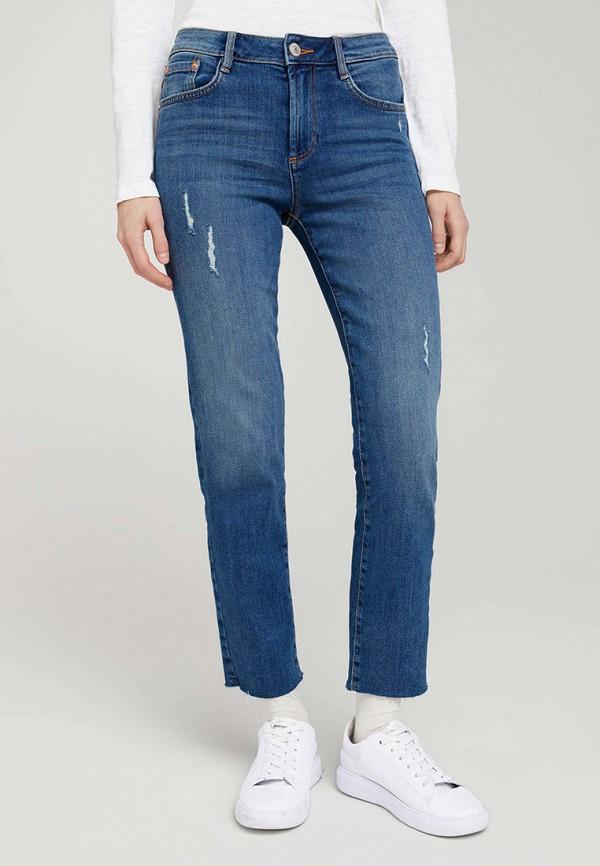 женские прямые джинсы tom tailor, синие