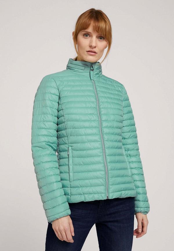 женская утепленные куртка tom tailor, бирюзовая