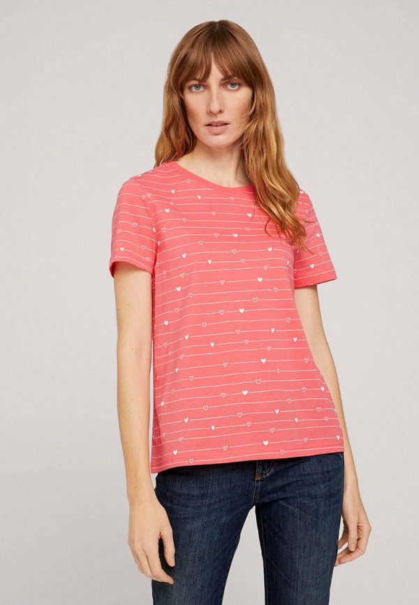 женская футболка tom tailor, розовая