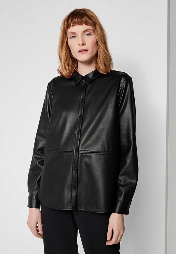 женская рубашка с длинным рукавом tom tailor, черная