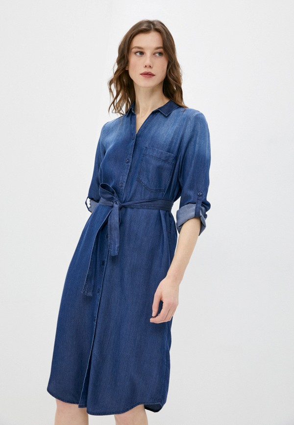 женское платье-рубашки tom tailor, синее