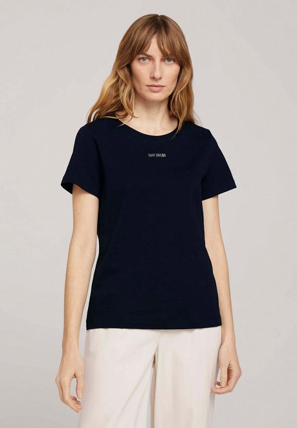 женская футболка tom tailor, синяя