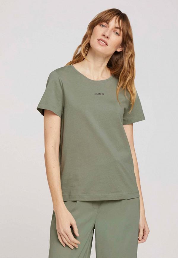 женская футболка tom tailor, хаки