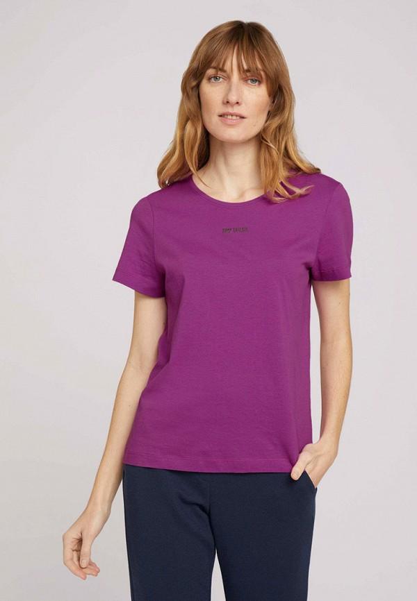 женская футболка tom tailor, фиолетовая