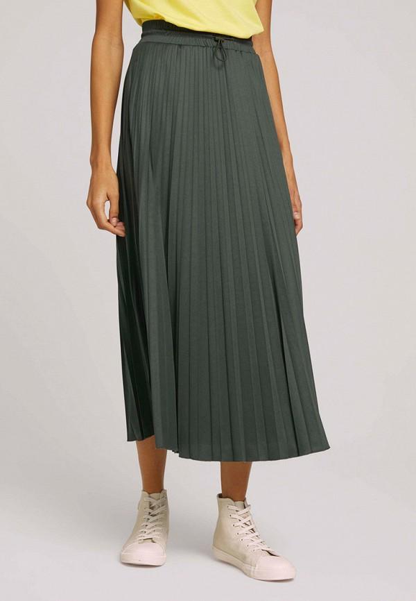 женская плиссированные юбка tom tailor, хаки