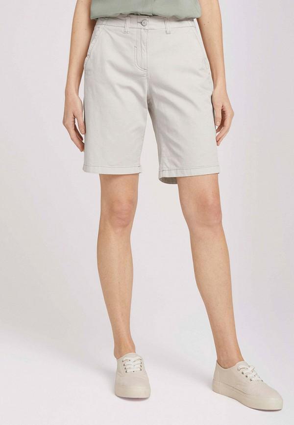 женские джинсовые шорты tom tailor, бежевые
