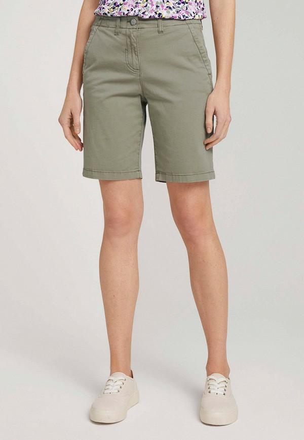 женские повседневные шорты tom tailor, зеленые
