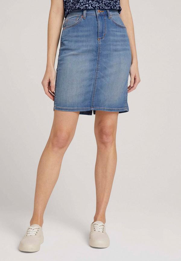 женская джинсовые юбка tom tailor, синяя