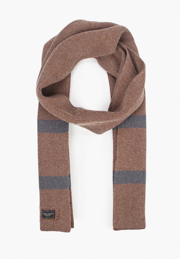 мужской шарф tom tailor, коричневый