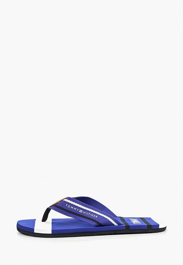 мужские сланцы tommy hilfiger, синие