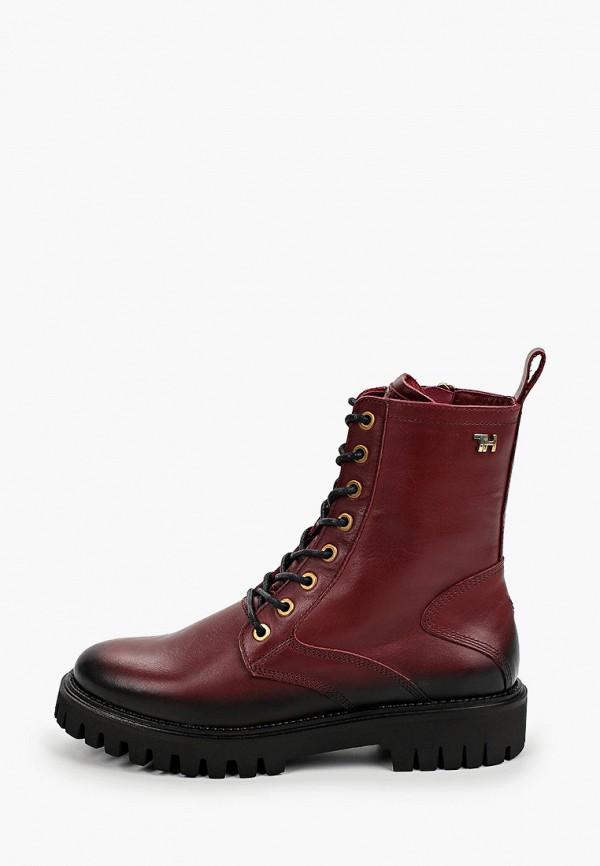 женские высокие ботинки tommy hilfiger, бордовые
