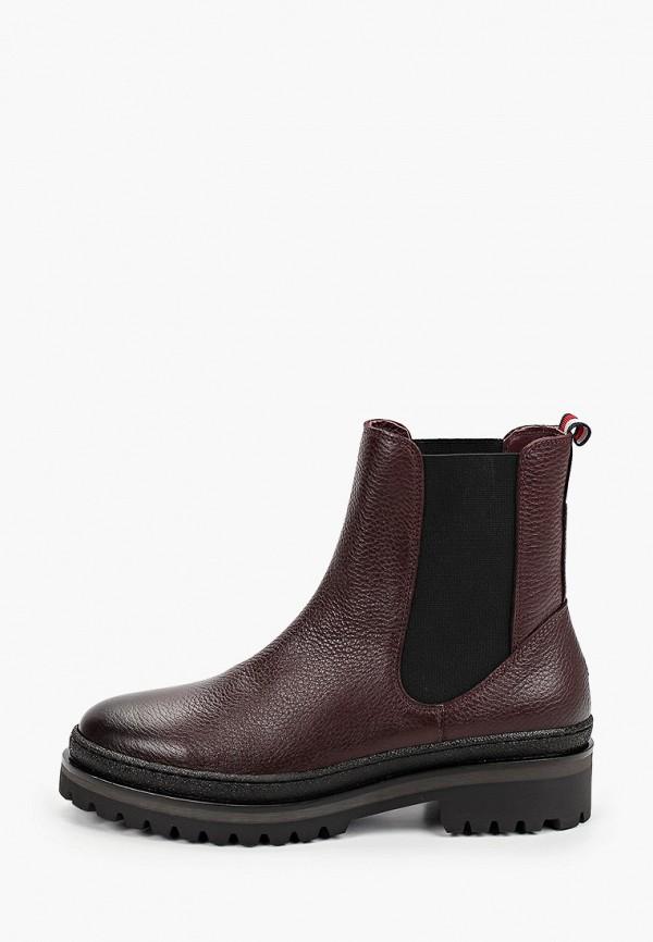 женские ботинки-челси tommy hilfiger, бордовые