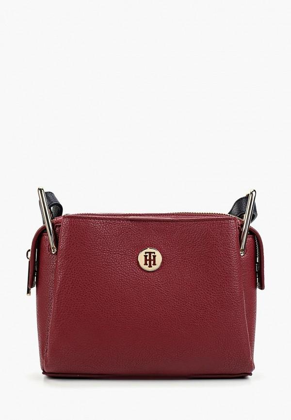 женская сумка tommy hilfiger, бордовая