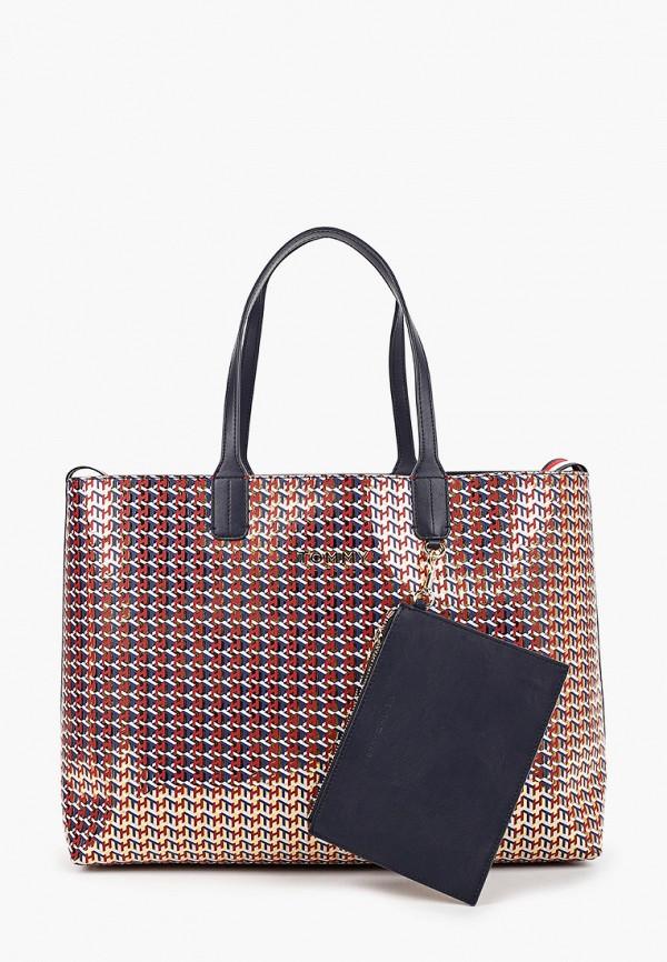 женская сумка-шоперы tommy hilfiger, разноцветная